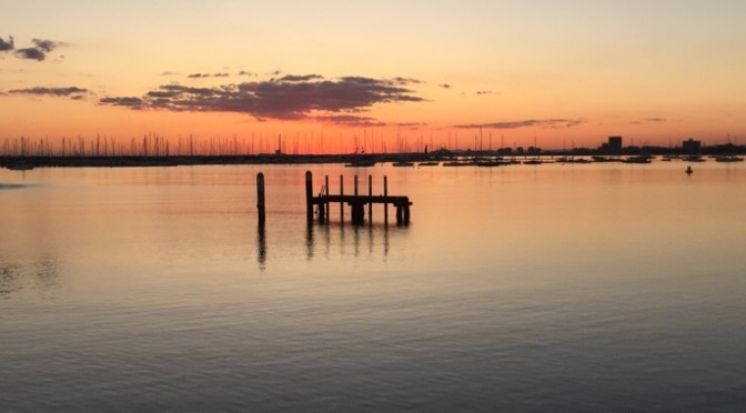 St Kilda pier and marina at sunset